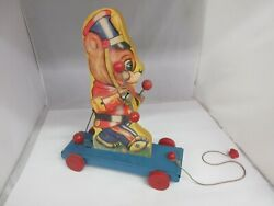 Vintage The Gong Bell Co Wooden  Marching Bear Pull Toy Works 100-g