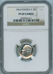 1964 Ngc Pf69 Cameo Roosevelt Silver Dime 10c 1964-p Pf-69 Cameo Pointed 9