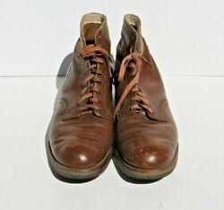 Ww2 Us Army Military Nurse Woman's Field Brown Combat Shoes Boots Low Quarter