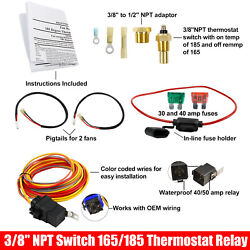 Dual Electric Cooling Fan Wiring Install Kit 185/165 Thermostat 40amp 12v Relay