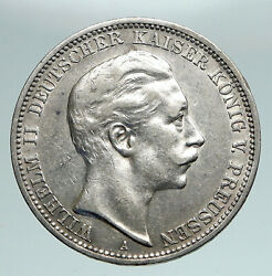 1909a Germany German States Wurttemberg Wilhelm Ii Vintage Silver 3m Coin I90914