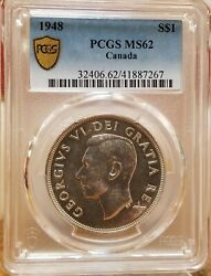 1948 Pcgs Ms62 Canada 1 Mintage Of Only 18780 Better Date Beautiful Finish