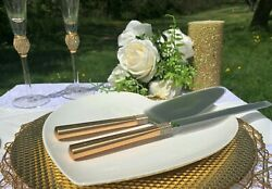 Cake Knife And Server By Waterford Crystal Wedding Gold Jeweled For Bride And Groom