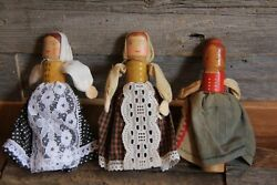 Lot Of 5 Small Wooden Dolls Vintage Antique