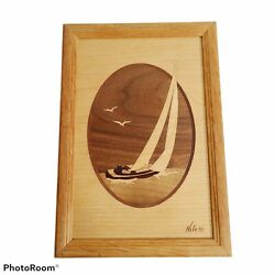Marquetry Hudson River Inlay Sailboat 7 Types Wood Wall Art Decor By Nelson