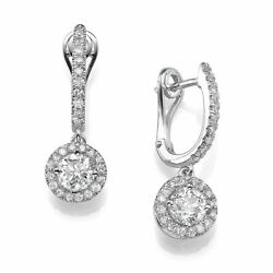 2.00 Ct H/si2 Solitaire Round Cut Diamond Stud Earrings 18k White Gold