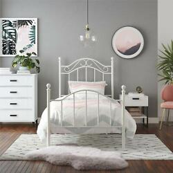Mainstays Metal Bed Bedroom Furniture Twin Size Frame White Box Spring Required