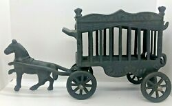 Vintage Iron Art 2 Piece Cast Iron Horse And Overland Circus Cage Wagon Jm 109