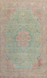 Vintage Overdyed Green Hand-knotted Tebriz Area Rug Wool Oriental Carpet 10and039x13and039