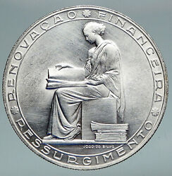 1953 Portugal 25 Years Financial Reform Proof Silver 20 Escudos Coin I91175