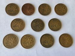 1940-1949 Canadian Small Cent Lot Canada Penny Coins 11 Incl 1947 And Andlsquo47ml Bin