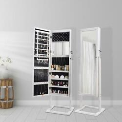 59quot; Mirrored Jewelry Cabinet Armoire Storage Organizer Lockable w Led Lights