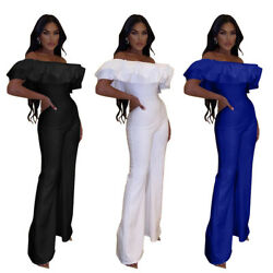 Hot Sale Women Boat Neck Solid Color Ruffled Casual Jumpsuit Wide Legs Romper