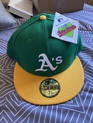 Oakland Athletics A's New Era 59fifty Retro Classic Fitted Hat Cap 5950 Wool