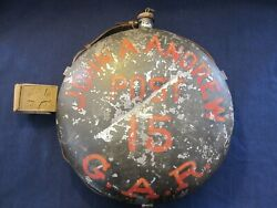 Large One Of A Kind Tin Painted Canteen For Andrews Post 15 Mass.