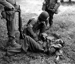 Bandw Ww2 Photo Wwii Wounded German Solider Us Medic World War Two Us Army France