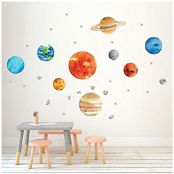 Planet Wall Decals H2MTOOL Removable Solar System Watercolor Space Wall for