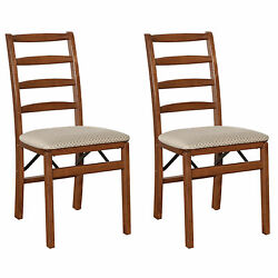 Meco Stakmore Shaker Ladderback Upholstered Seat Folding Chairs, Cherry 2 Pack