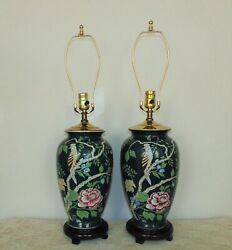Pair Vintage Table Lamps Mid Century Modern Chinese Asian Oriental Chinoiserie