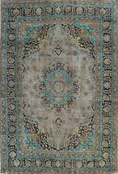 Antique Kashmar Overdyed Gray Hand-knotted Area Rug Floral Oriental Carpet 8x11