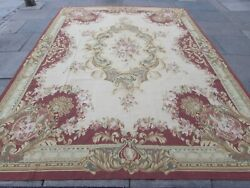 Vintage Hand Made French Design Wool Maroon Large Original Aubusson 367x271cm
