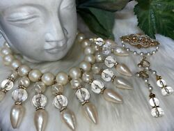 Miriam Haskell Massive Pearl Necklace Earrings And Brooch Set Mint 15