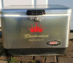 Budweiser Select Coleman 54 Quart Stainless Steel Belted Cooler Ice Chest 6150
