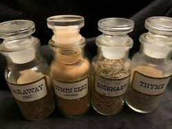 Vintage Spice Jars Set Of 4 Glass John Wagner Caraway Cumin Rosemary Thyme