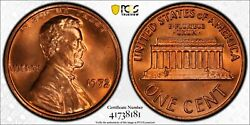 1972 Pcgs And Cac Ms66+rd Lincoln Memorial Cent Penny 1c