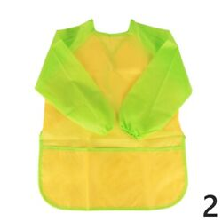 Childrenand039s Painting Eating Aprons Long Sleeve Multi Pocket Waterproof Nylon Cute