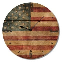 American Flag Rustic Wood Clock - Indoor And Outdoor Safe