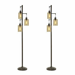 Abode 84 72-inch Floor Lamp W/ 3 Glass Champagne Dimple Shades, Bronze 2 Pack