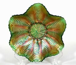 Antique, Fenton, Green Carnival Glass Candy Dish, Peacock Tail Pattern. C.1920's