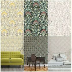 Crown Archives Flora Nouveau Wallpaper Green Yellow And Natural Wall Decor New