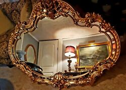 Vintage Ornate Syroco/homco Extra Large Mirror With Flowers And Scrolls. Rare
