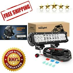 Led Light Bar 12 Inch 72w Spot Flood Combo With Off Road Wiring Harness Trucks