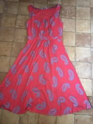 Boden Red Jersey Knee Length Dress Size 10l Very Good Condition