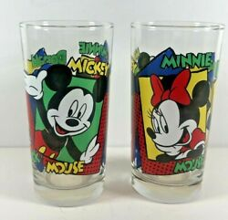 Disney Mickey Minnie Mouse Donald Duck Juice Glasses Anchor Hocking Set 2