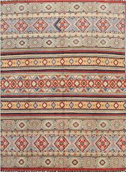 Vegetable Dye Geometric Super Kazak Oriental Area Rug Hand-knotted 8and039x10and039 Carpet
