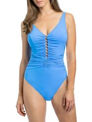 Gottex Maharani Shirred Over Shoulder One Piece Swimsuit Blue Size 14 NEW $150 $41.35