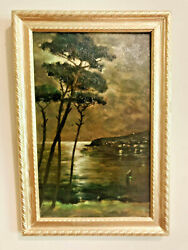 Antique Landscape Oil Painting On Board Evening Moonlight Over Shoreline And Cove