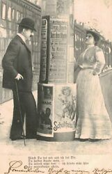 Vintage Postcard-swiss Couple Looking At Advertisement Posters, Switzerland