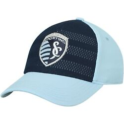 Sporting Kansas City Adidas Youth Authentic Structured Flex Hat - Navy/light