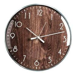Wall Clocks Battery Operated 13 inch Silent Non ticking Clock for Wood Grain