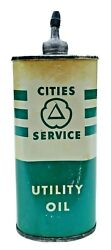 Cities Service Oiler Can Utility Oil 4oz Oval Lead Top Vintage Empty