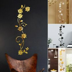 Removable Flowers Vine Acrylic Mirror Wall Sticker Mural Home Decors Waterproof