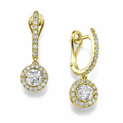 Neuf 18kt Or Jaune Diamant Rond Boucles Dand039oreilles 2.00 Ct F/si1