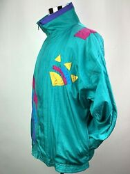Vintage Retro 80s Neon Color Windbreaker Jacket Womens XL Halloween 80s Costume