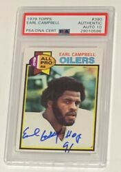 Earl Campbell Autographed 1979 Topps Football Rookie Card Psa Dna Signed Auto
