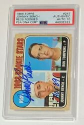Johnny Bench Autographed 1968 Topps Baseball Rookie Card Psa Dna Signed Auto